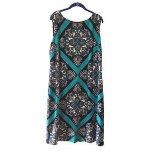 MACYS Blue Boho Print Sleeveless Dress Lined